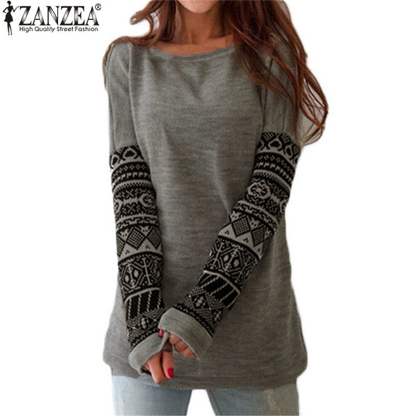 2016 Spring Autumn Women T Shirt Fashion O Neck Printed Long Sleeve Loose T-Shirt