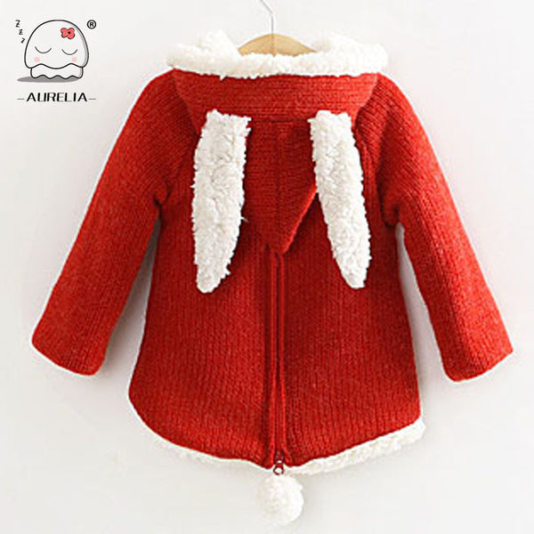Baby Girls Wool Sweater With Rabbit Ears And Cherry Children Outwear Girls Winter Coat