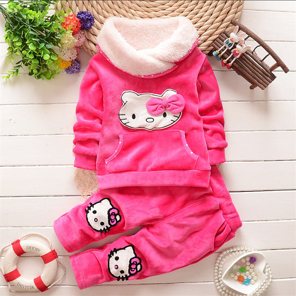 2016 new Autumn/Winter baby girls clothing sets children velvet warm clothes set.