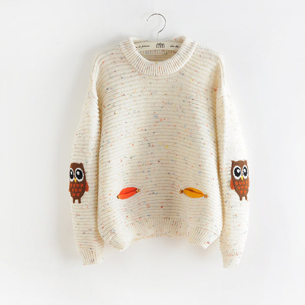 2016 womens fashion winter autumn new owl character with pocket cashmere sweater