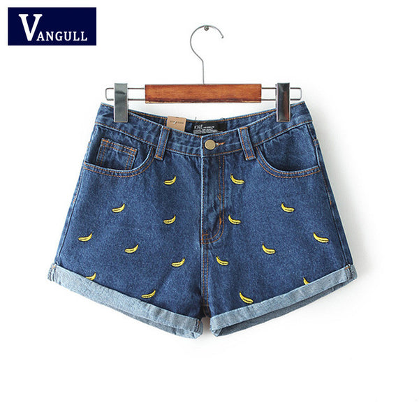 Women  Banana Flower Embroidery Cotton Denim Shorts curling waist Jeans