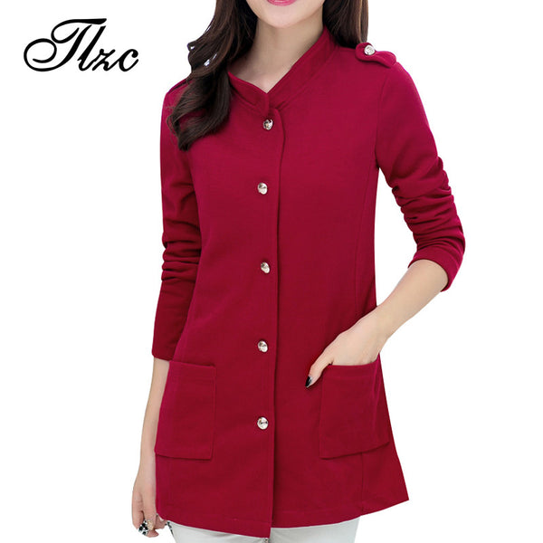 Belt Decorate Lady Slim Jackets Trendy Big Pockets Design.