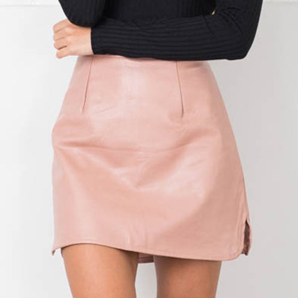 New Arrival OL PU Leather Skirts High Waist Sexy Vintage A-Line Office Skirts Womens