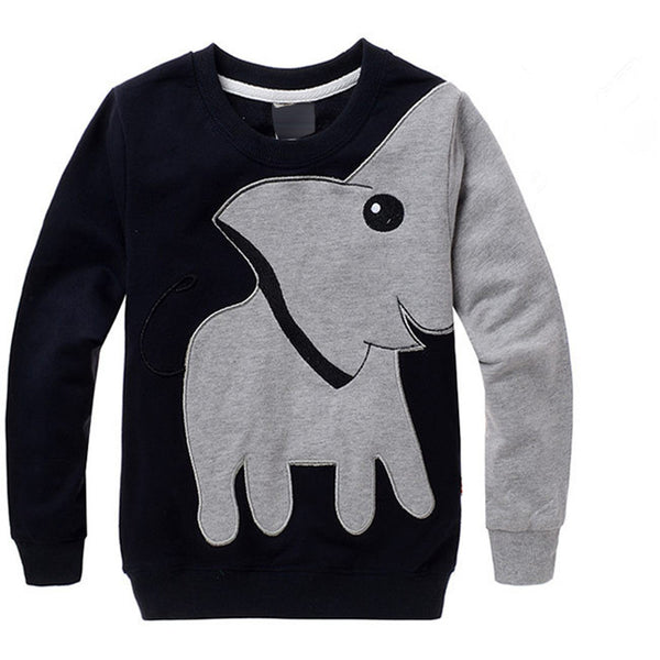 2016 Autumn New Cartoon Elephant Printed Long Sleeve Children Sweater Boy Girl Pullover.