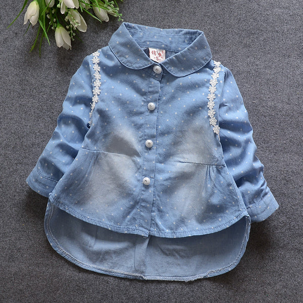 2016 in spring and autumn new female child female baby cowboy dot cardigan.