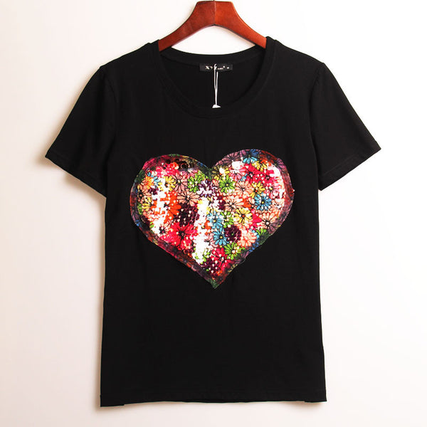 2 Colors Summer Hot T-shirt Women Sequined Love Heart Sequins T Shirt