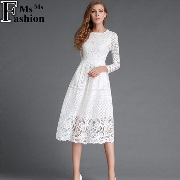New European 2016 Spring Women's Lace Hollow Out Long Dresses