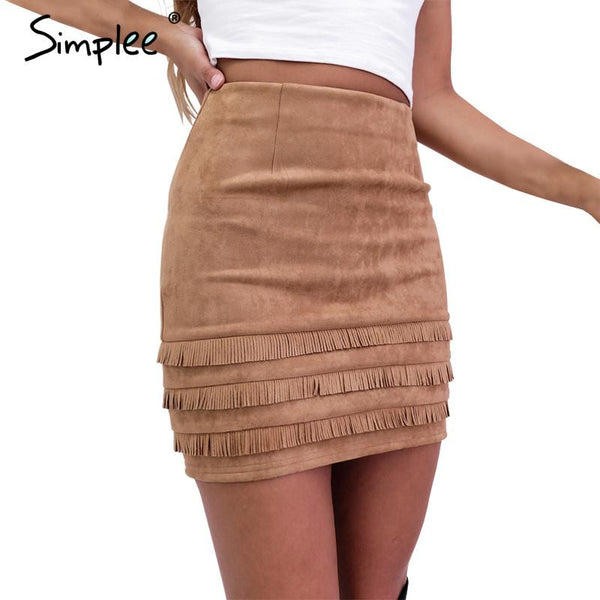 Simplee Retro tassel suede leather pencil skirt Autumn high waist