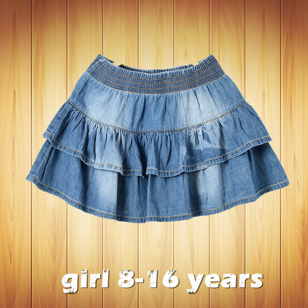 2016 new summer style girl denim tutu mini skirts children layered  jeans
