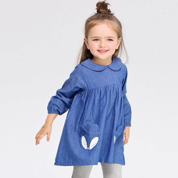 2016 autumn spring girl dress fox blue dot Toddler baby girl dress.