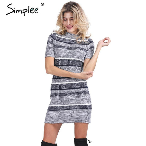 Simplee Blue striped knitted bodycon Autumn winter short sleeve girls dress