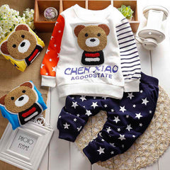 2016 Autumn winter baby sets cartoon Panda velvet set twinset long sleeve hoodie+pants
