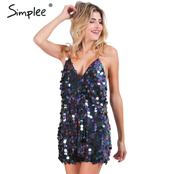 Simplee Deep V sequin sundress Backless luxury slip dress sexy party short