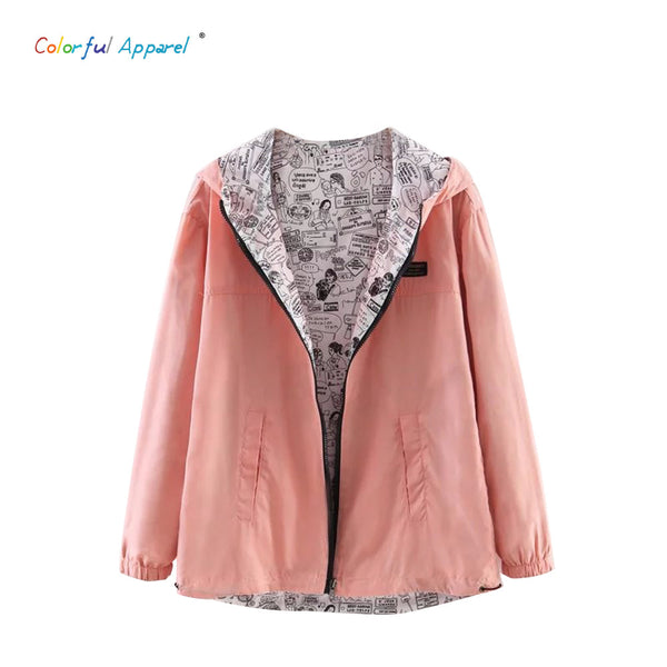 2016 Autumn Fashion women Pocket Zipper hooded two sides wear lady Cartoon outwear.