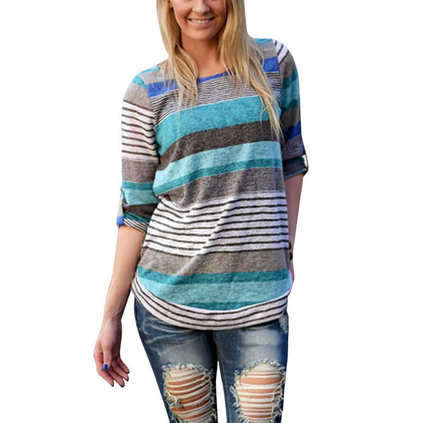 Autumn Women Fashion Loose Crewneck Cotton Asymmetric Striped Long Sleeve Tops