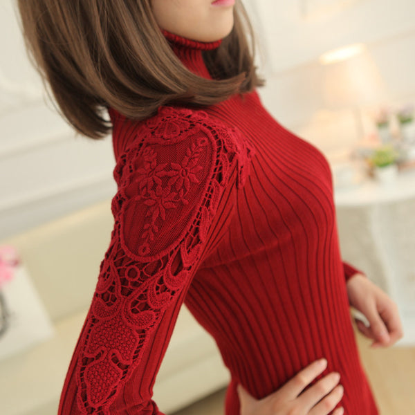 2016 Spring and autumn- the long sweater with high collar fashion lace sleeve thick sweater