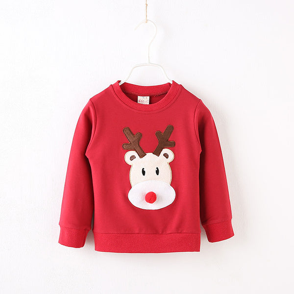 2016 autumn Baby Boys Christmas Clothes Kids Cute long-sleeve Printed deer T Shirts.