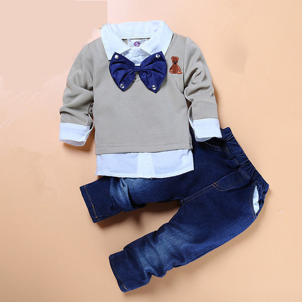 boys boutique clothes 2pcs/set kids gentleman bow tie fake two piece shirts