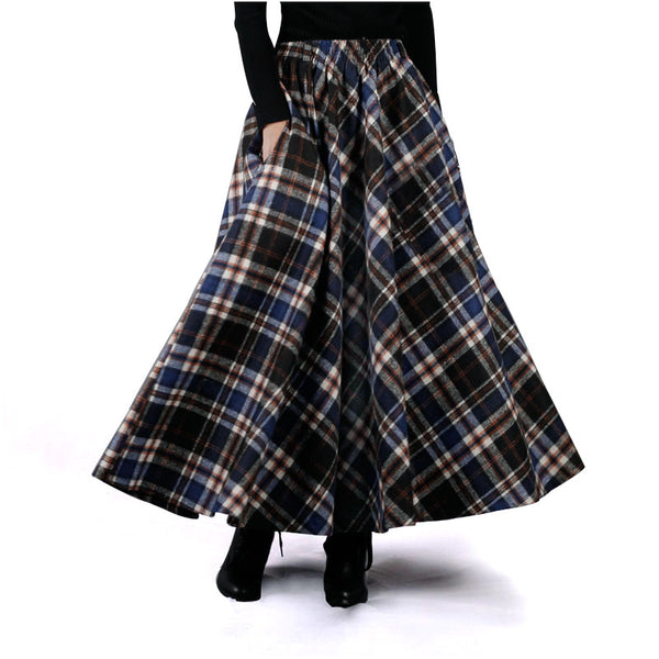 Autumn Winter Women Skirt 50s Vintage and Retro Wool Maxi Elastic Plaid.