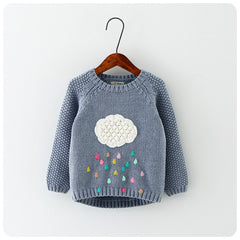 new winter cartoon baby girls sweater cloud raindrops kids clothes children sweater
