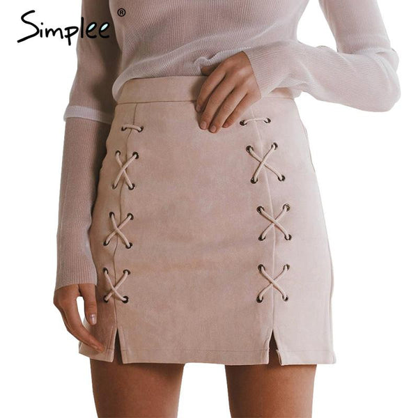 Simplee Autumn lace up leather suede pencil skirt Winter 2016 cross high waist skirt