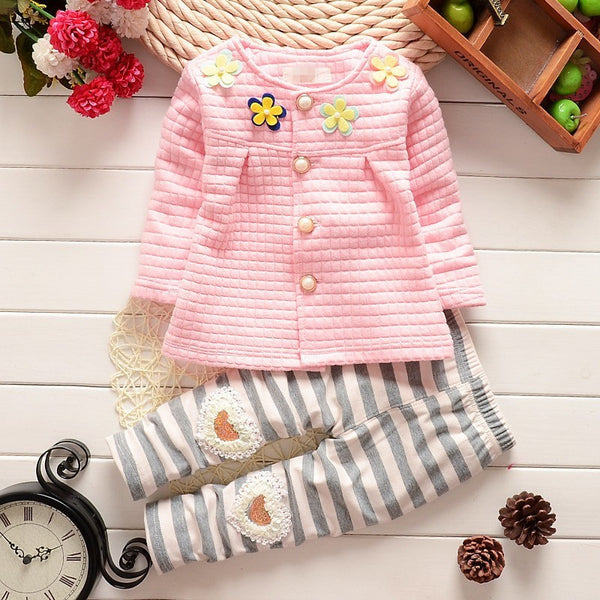 2016 Spring Autumn children baby girls clothing sets flower coat + pants 2pcs