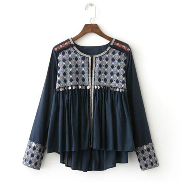 Ethnic Coins Fringed Embroidery Jacket 2016 New Women Tassel Skirt-hem  Jacket