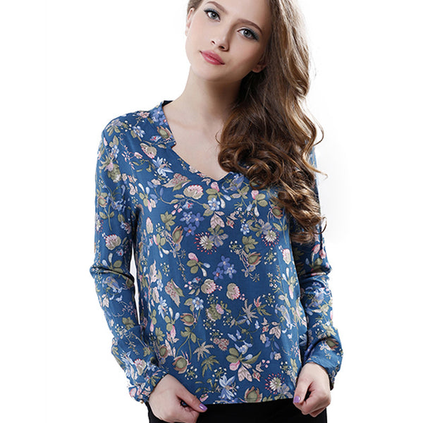 Fashion Women Elegant vintage Long Sleeve V-neck Floral Print Blouses OL Shirts