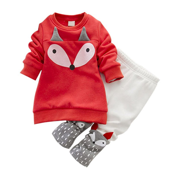 Autumn winter Baby Girls Clothing 2PCS Thick Long Sleeve Fox Tops + Pant Sets