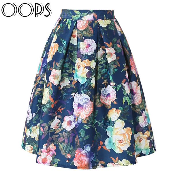 Women Pleated Skirts 2016 Vintage Flower Printed High Waist Knee Length Skirts