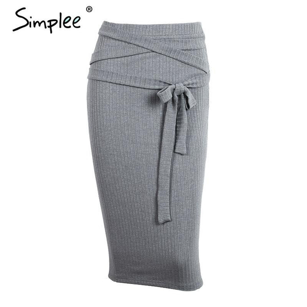 Simplee All-match high waist pencil skirt 2016 autumn grey women knitted skirts
