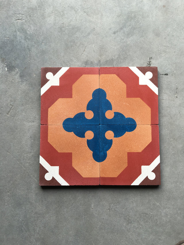 Cement Patterned Tile - Cross Sword Red