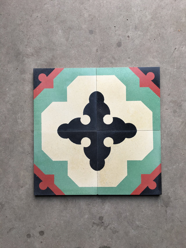 Cement Patterned Tile - Cross Sword Turquoise