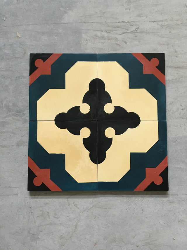 Cement Patterned Tile - Cross Sword Teal