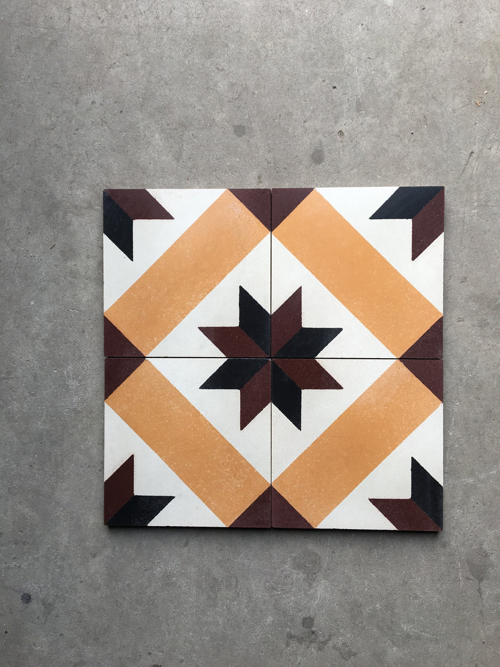 Cement Tile - Antique Greek Duo Star Series