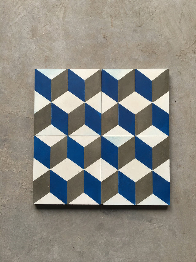 Cement Tile - 3D Cubes Series