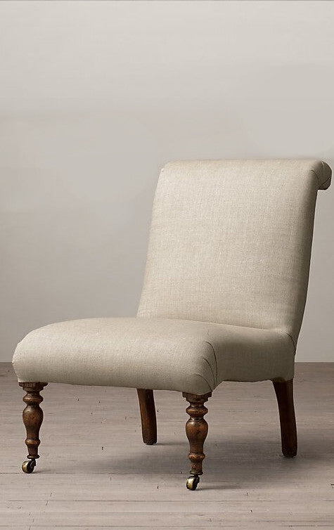 Fabric Slipper Chair with Front Wheels