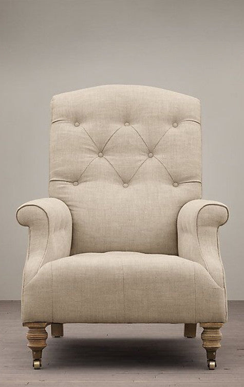 Fabric Wing Chair with Tuft Backing