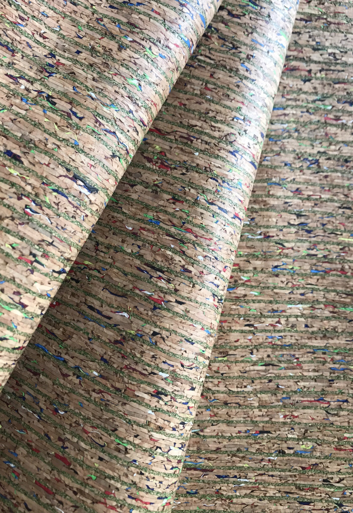Cork Fabric/Leather - Colourful Lines