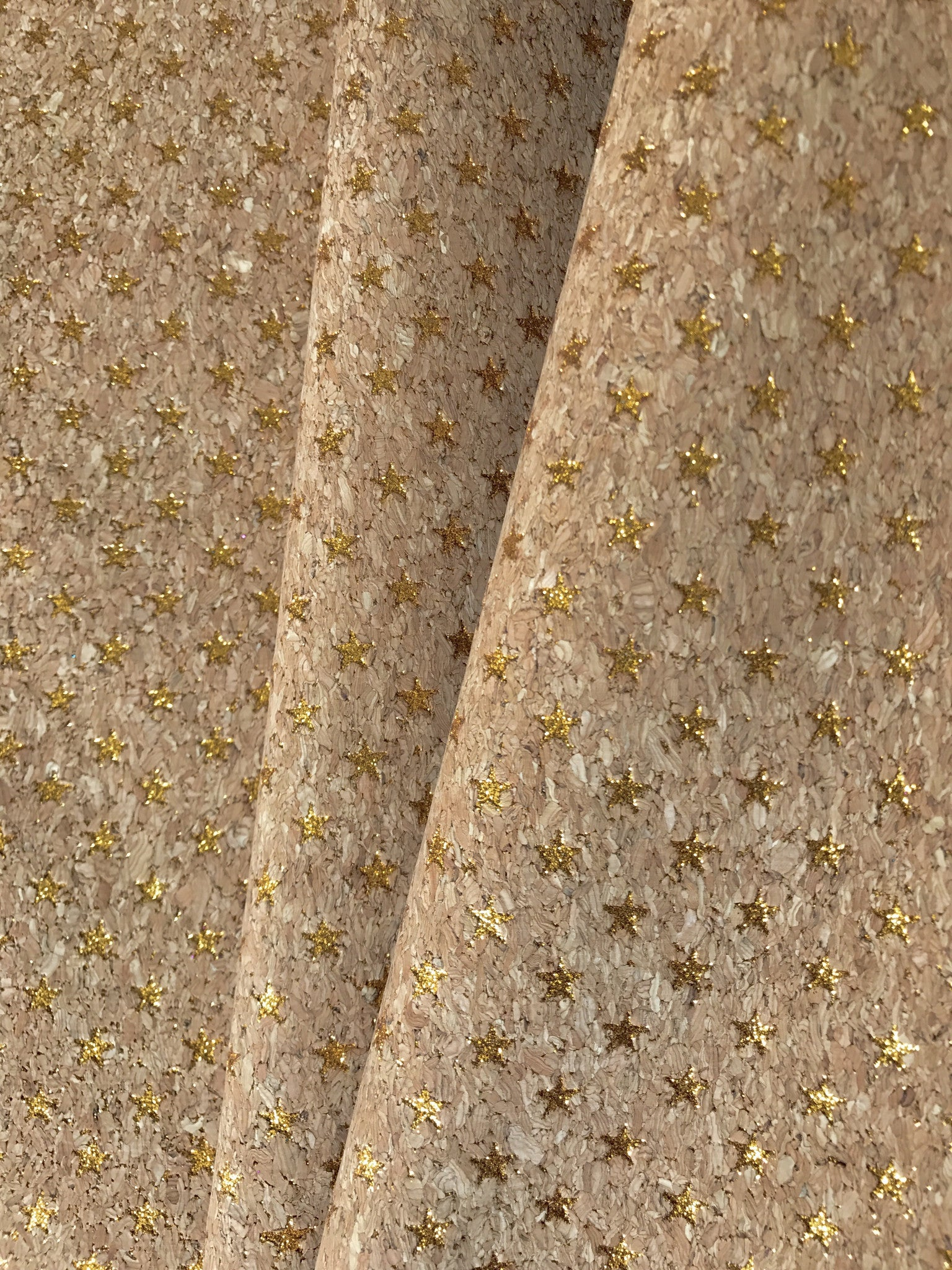 Cork Fabric/Leather - Gold Stars