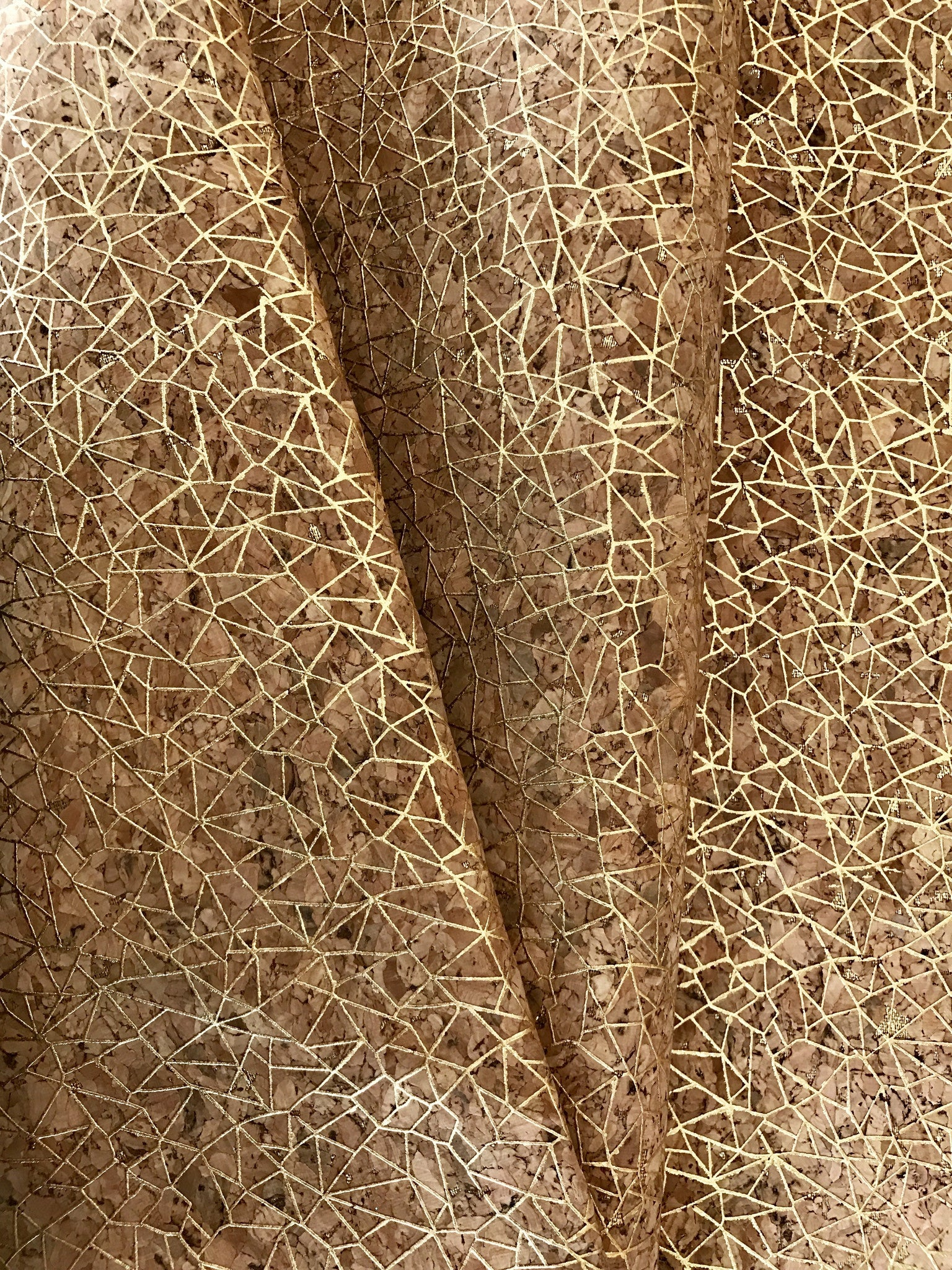 Cork Fabric/Leather - Gold Spiderweb