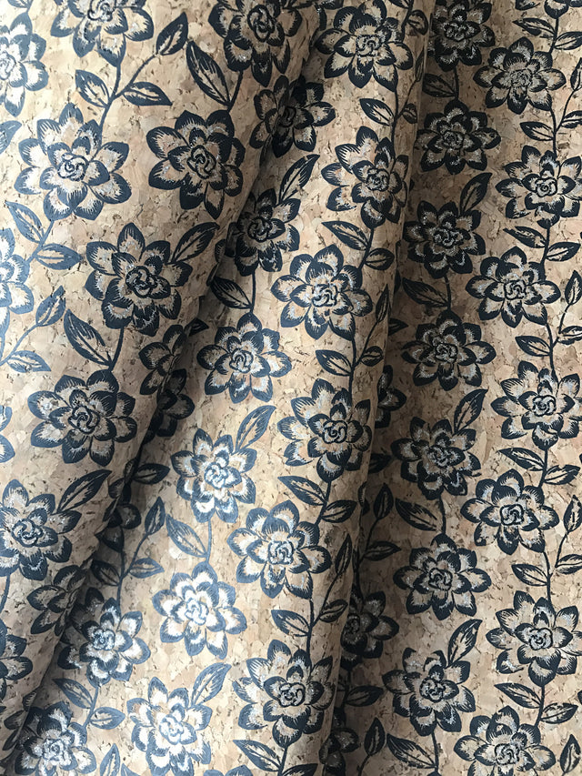 Cork Fabric/Leather - Dark Navy Petals