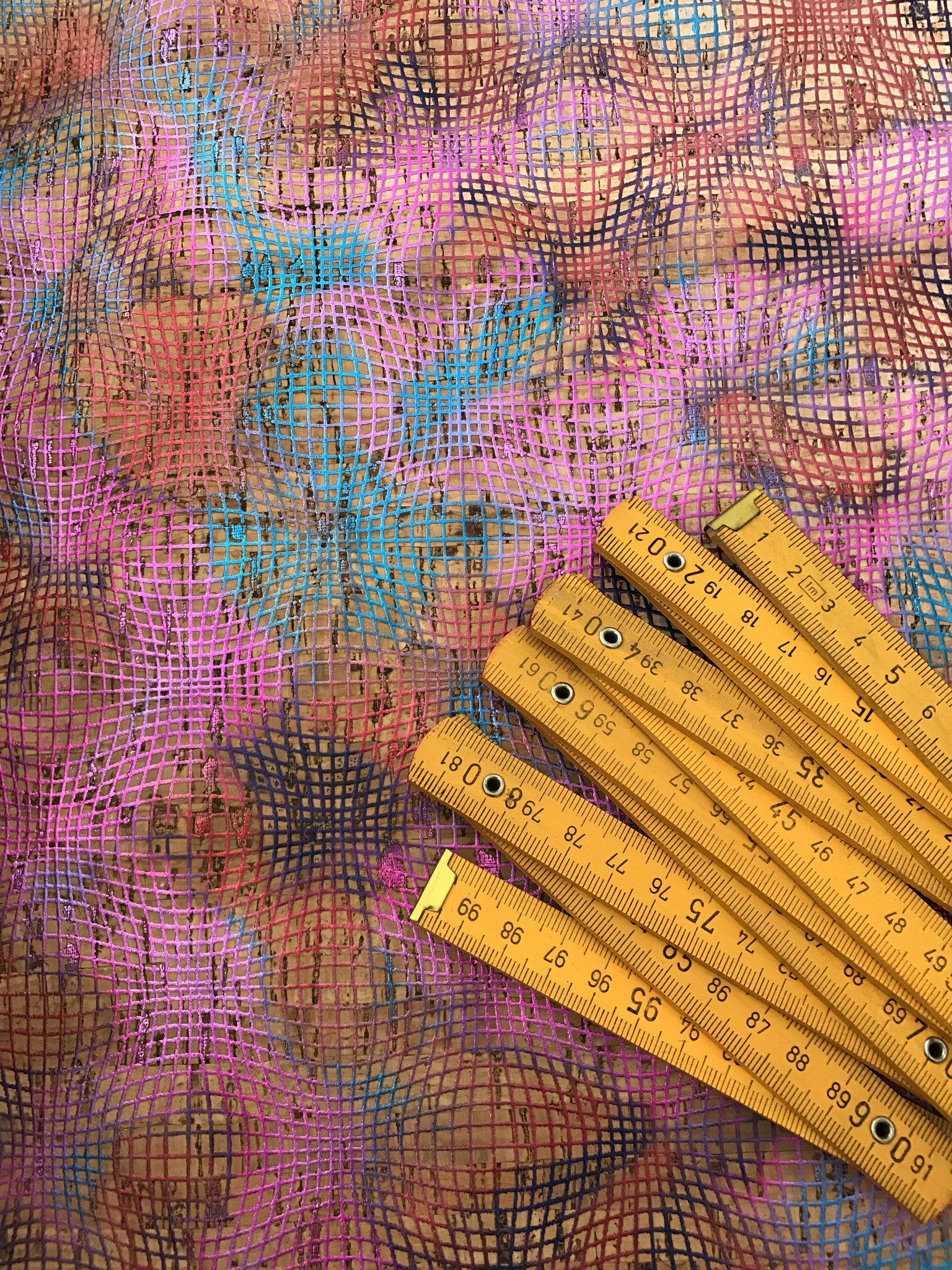 Cork Fabric/Leather - Colourful Abstract