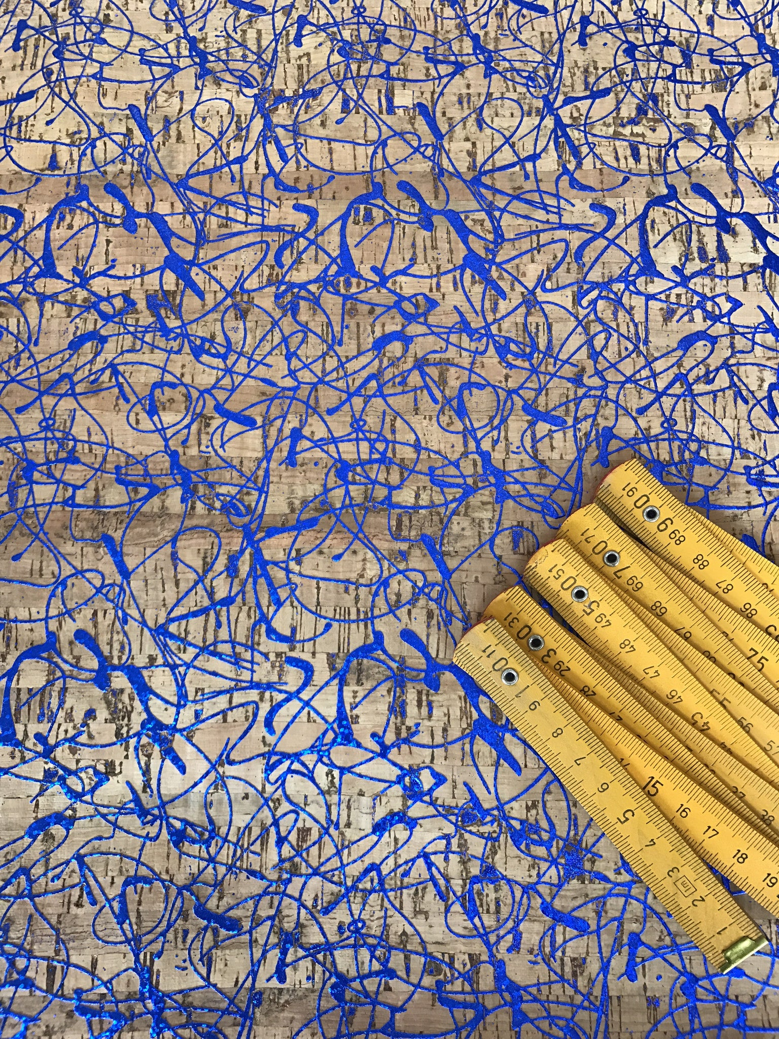 Cork Fabric/Leather - Electric Blue Scribbles