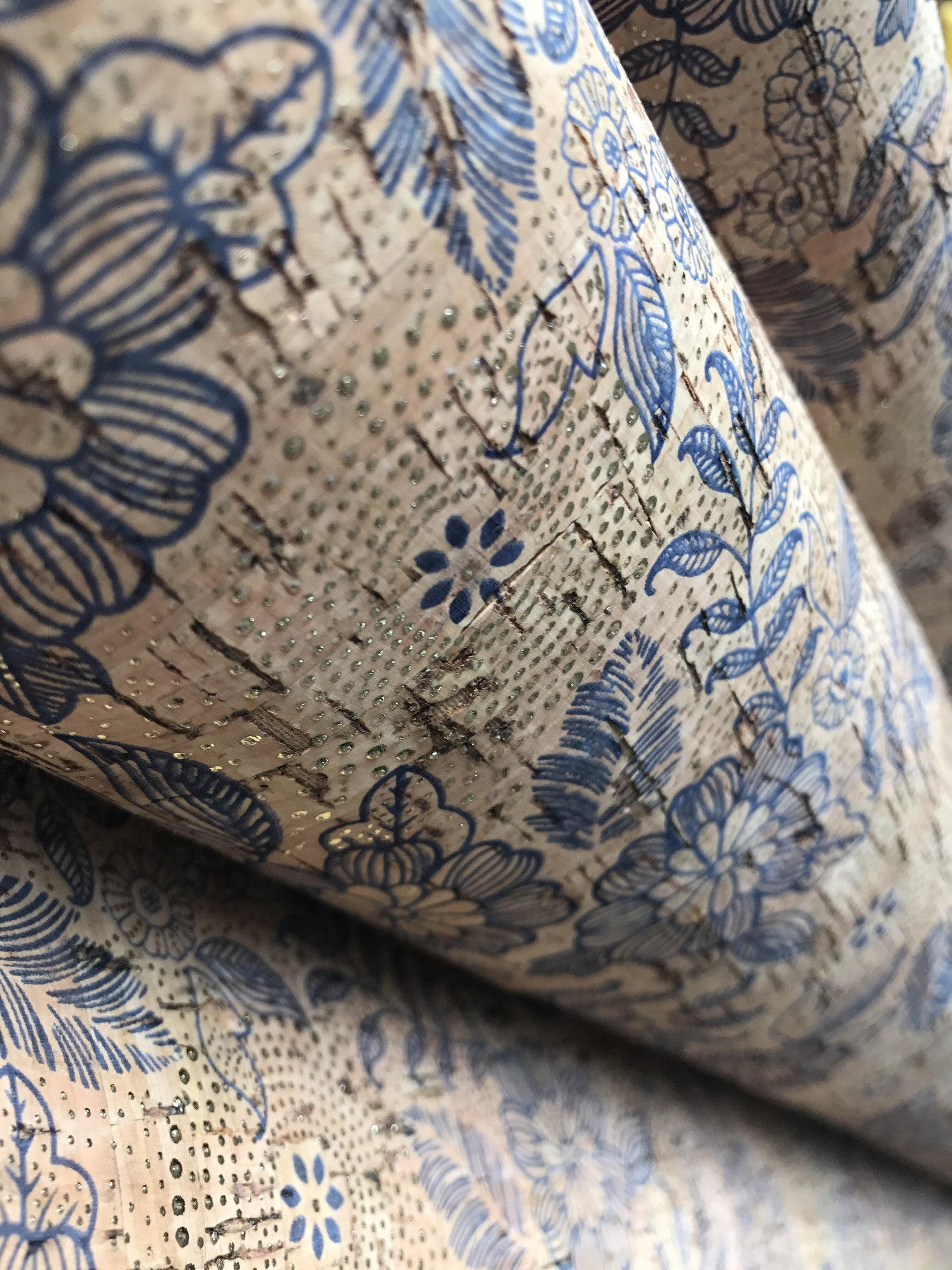 Cork Fabric/Leather - Blue Petals