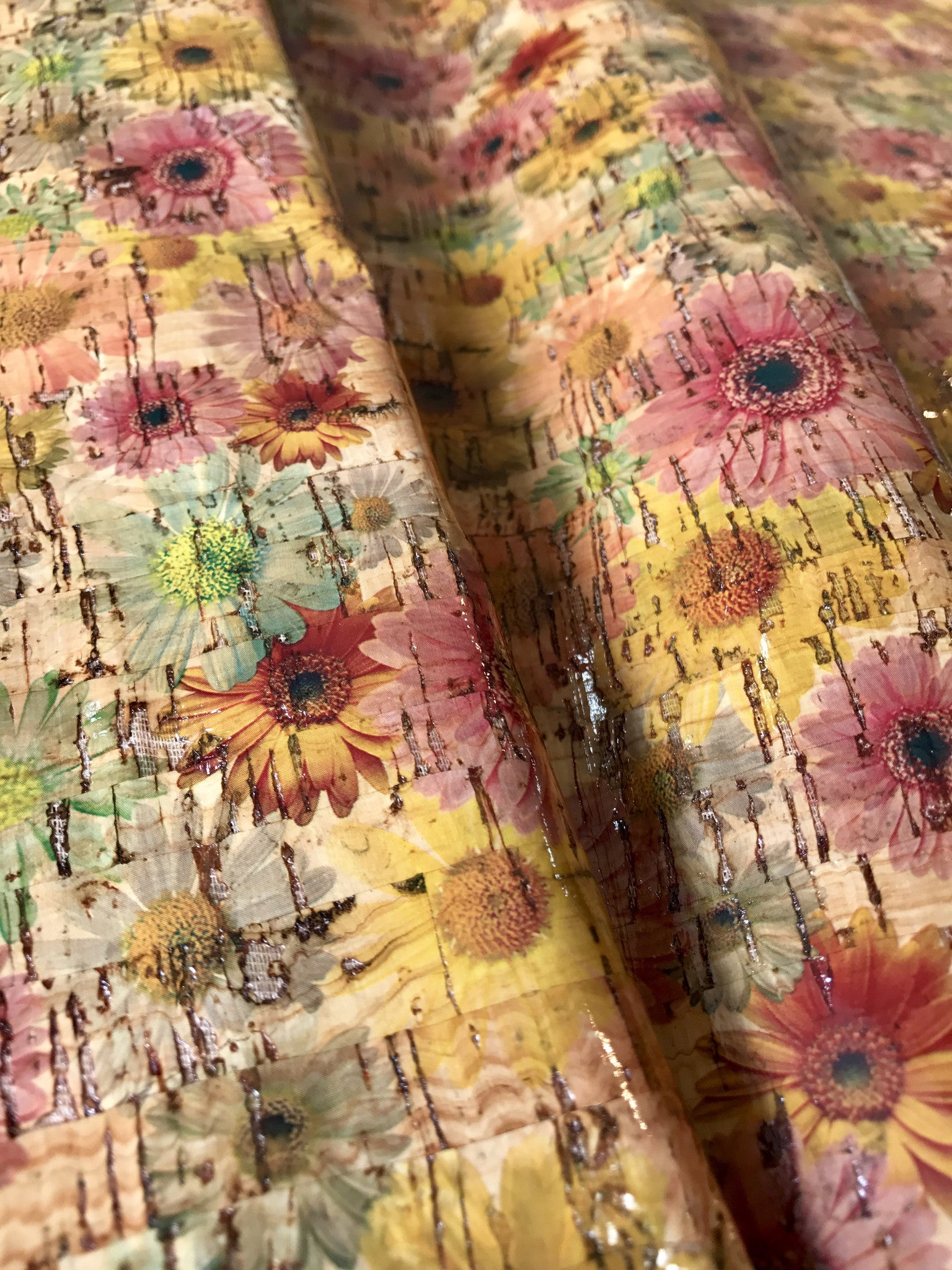 Cork Fabric/Leather - Glossy Sunflowers