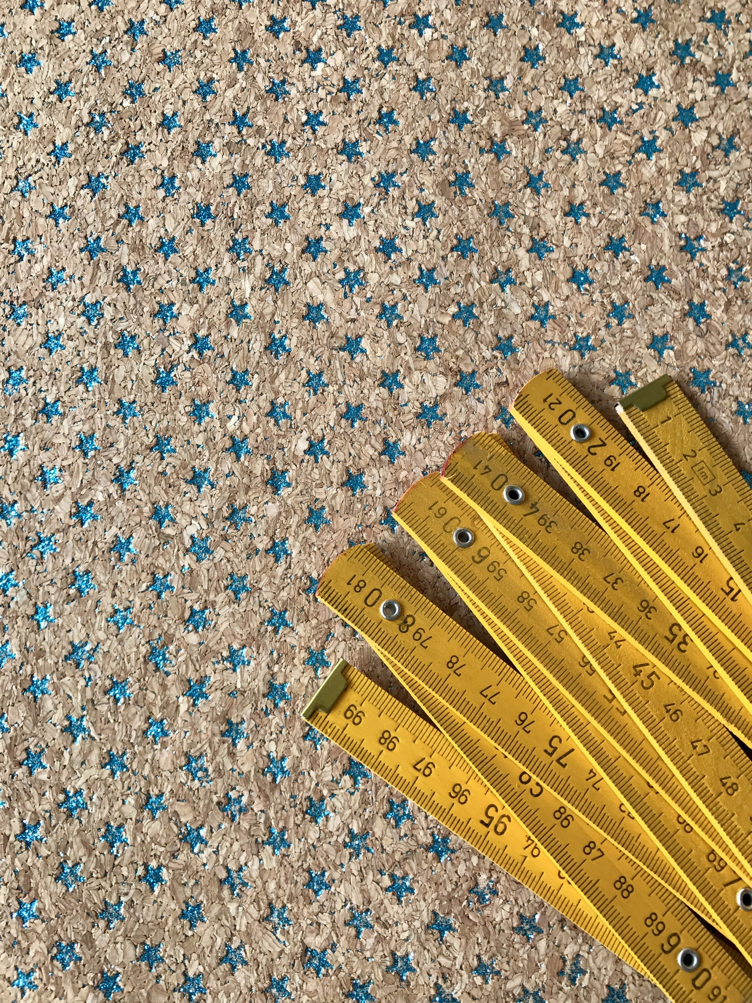 Cork Fabric/Leather - Blue Stars