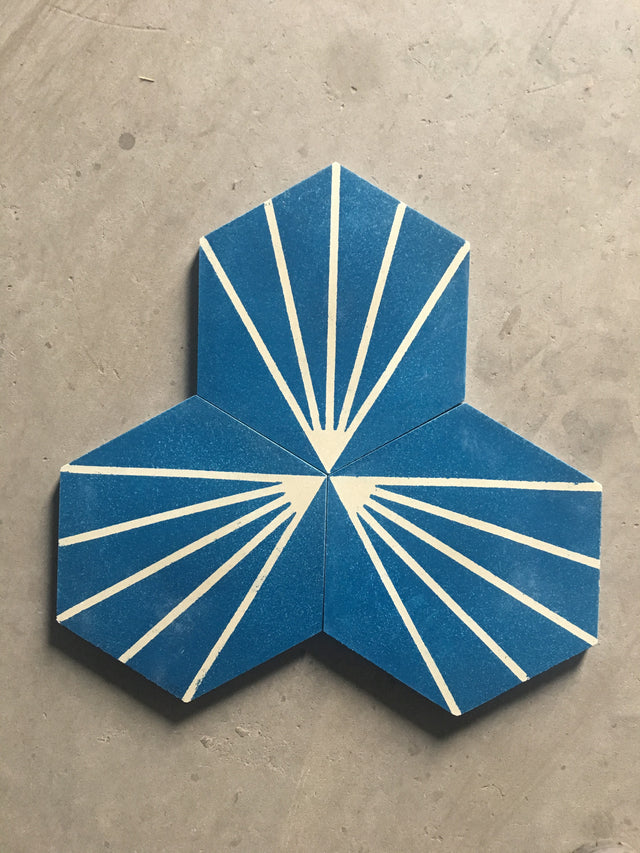 Hexagon Tile Blue with Light Rays