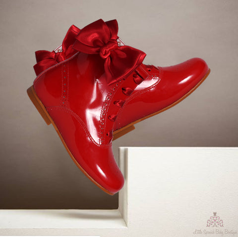 Bambi Leather Boots Red