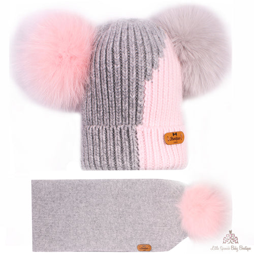Fur Pom Pom Hat And Scarf Grey